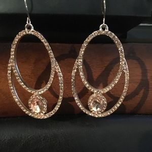 Vince Camuto Oval Hoops with Amber stone Earrings